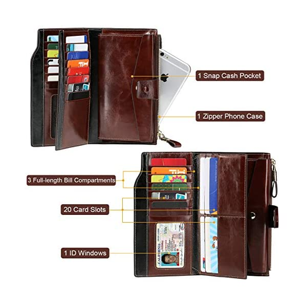 Itslife Women's RFID Blocking Large Capacity Luxury Wax Genuine Leather Clutch Wallet Card Holder Organizer Ladies Purse 4