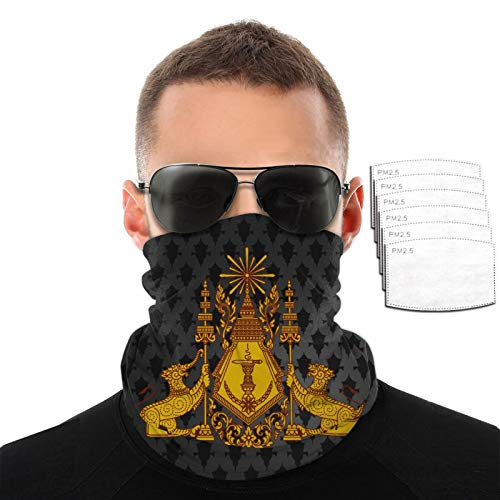 Cambodian Buddha Flag Woman & Mens Reusable Anti-Dust Masks Outdoor Headband with Filters