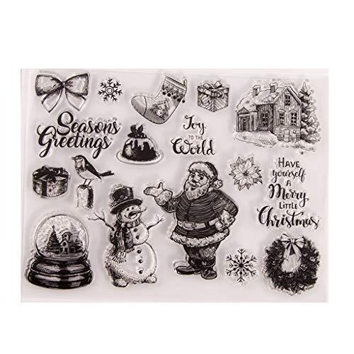 HLLR Navidad Muñeco de Nieve Flor Silicona Sello Transparente Sello DIY Scrapbooking �lbum de Fotos en Relieve Tarjeta de Papel Decorativa Artesanía Arte Regalo Hecho a Mano