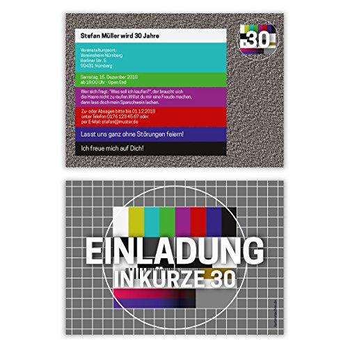 30 x Geburtstag Einladungskarten Geburtstagseinladung Einladungen Karten - TV Signalstörung Rauschen