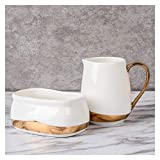 ADSE Saucenboot Porzellan Zucker- und Milchkännchen-Set für Kaffee und Tee Multifunktionaler Sahnekännchen mit Griff/Zuckerkrug/Kleine Milchtasse Goldener Rand Geeignet für Salatdressing