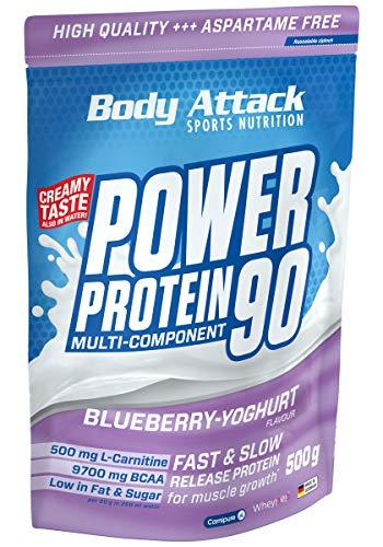 Body Attack Power Protein 90, Blueberry Yoghurt Cream, 500g, 5K Eiweißpulver mit Whey-Protein, L-Carnitin und BCAA für Muskelaufbau und Fitness