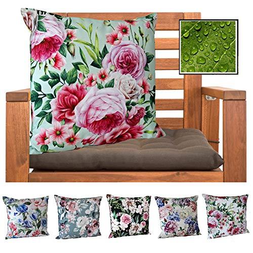 heimtexland ® Outdoorkissen Dekokissen Schmutz- und Wasserabweisend Landhaus Garten Outdoor Kissen Rosen Pink Grün Typ675