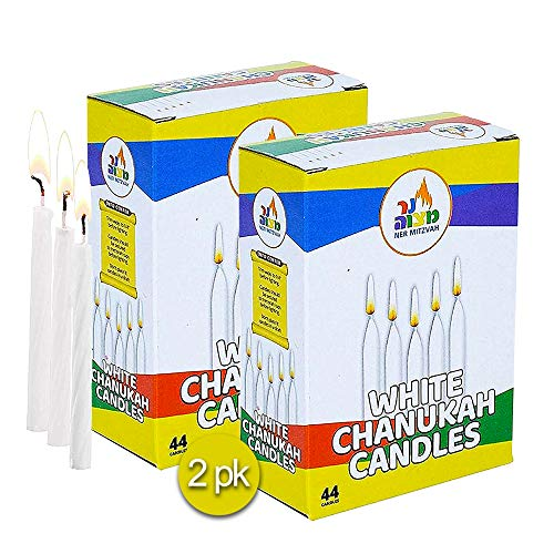 2-Pack White Chanukah Candles - Standard Size Fits Most Menorahs - Premium Quality Wax - 44 Count for All 8 Nights of Hanukkah - by Ner Mitzvah