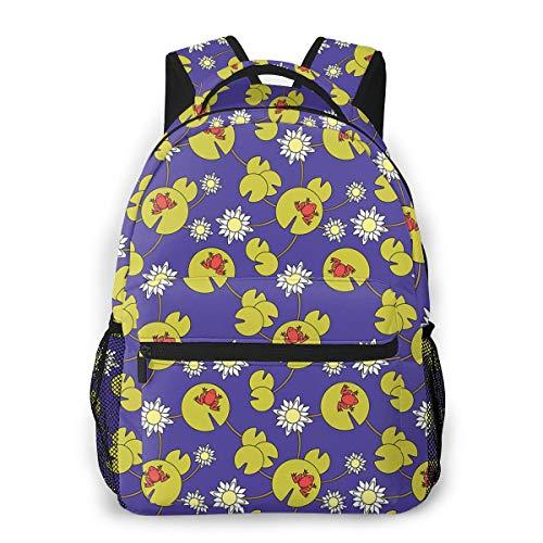 Reiserucksack für Damen Herren Frösche und Seerosen Slim Bag Für College, Schule Dayparks 15,6 Zoll hoch