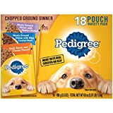 PEDIGREE Chopped Ground Dinner Adult Soft Wet Meaty Dog Food With Hearty Chicken, Slow Cooked Beef, and Beef, Bacon & Cheese Variety Pack, (18) 3.5 oz. Pouches