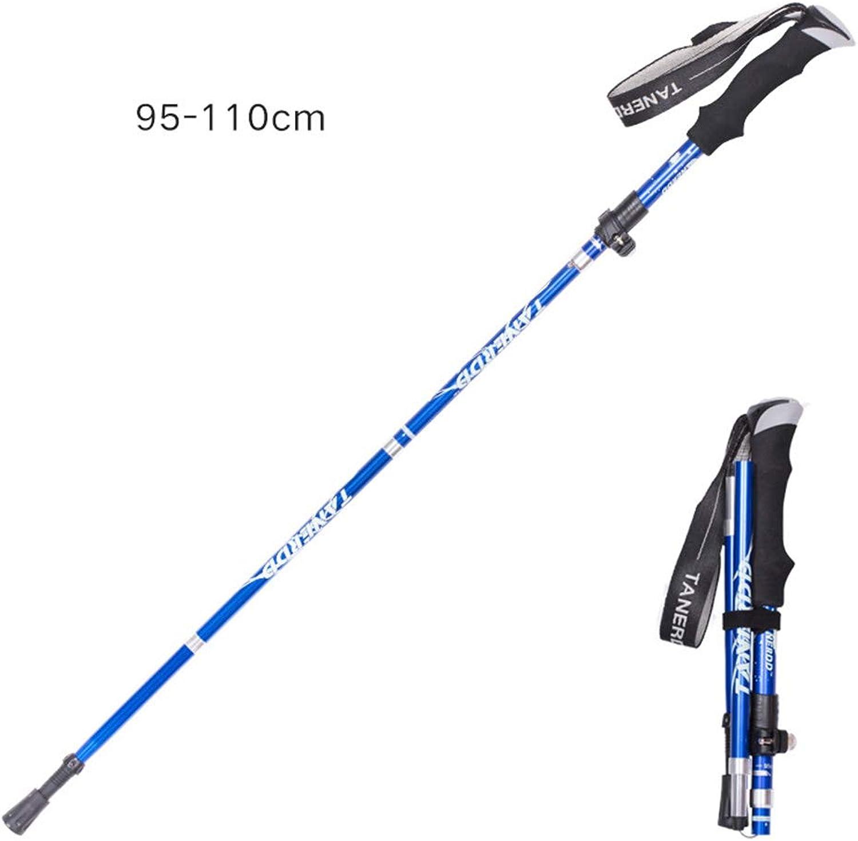 Mano Home Aluminum Alloy Folding Ultra-Light Ultra-Short Telescopic Outdoor Handcuffs Hiking Climbing Stick 5, 95-110cm,trekking pole 2