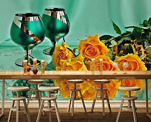 Fotomurales3DPapelPintado Copa De Vino Floral Con Hojas Verdes Murales3DPapelTapizDecorativosModernoWallpaper