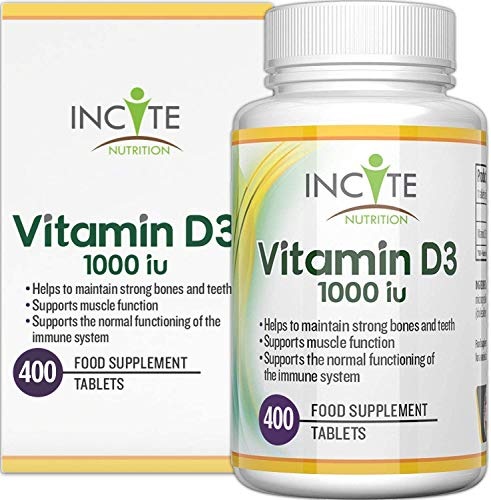Vitamin D 1000iu | 400 Premium Vitamin D3 Easy-Swallow Micro Tablets | One a Day High Strength Cholecalciferol VIT D3 | Vegetarian Supplement | Made in The UK by Incite Nutrition