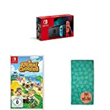 Nintendo Switch Konsole - Neon-Rot/Neon-Blau (2019 Edition) + Animal Crossing: New Horizons [Nintendo Switch] + Animal Crossing New Horizons - Handtuch
