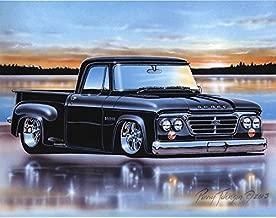 1962-65 Dodge D100 Stepside Pickup Classic Truck Art Print Black 11x14 Poster