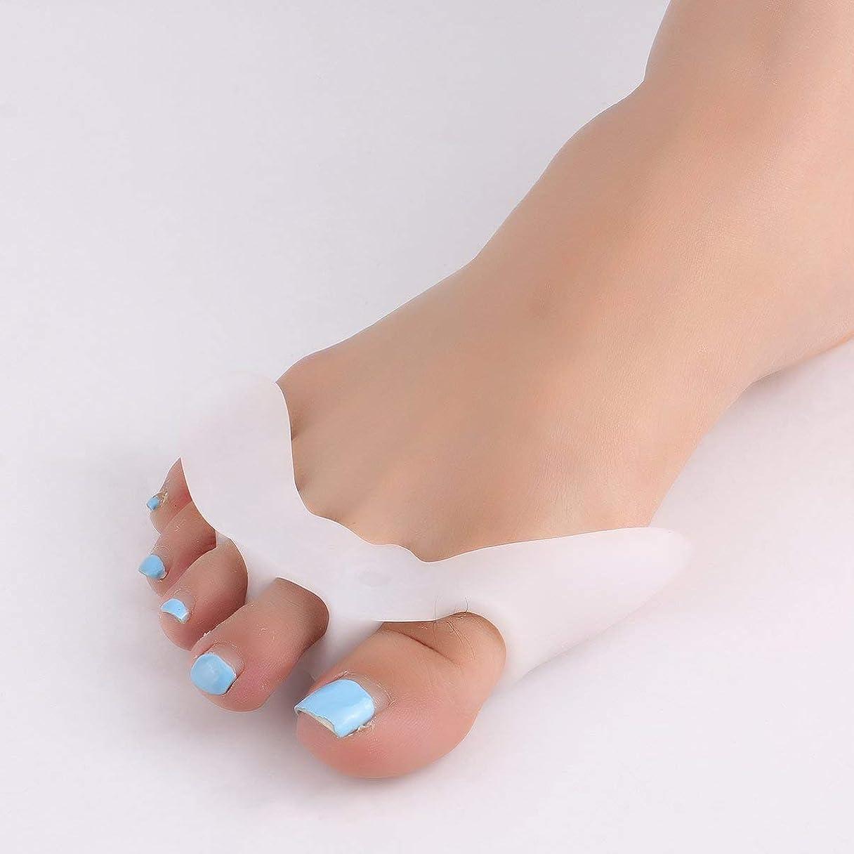 寸法プライム朝食を食べる1 Pair Silicone Toe Separator with 5 Holes Feet Care Braces Supports Tools Bunion Guard Foot Hallux Valgus