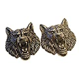 Mingchen Vintage Engraving Wolf Head Brass Decorative Buckle Stereoscopic Shape Conchos Castings Screw Back Button Personality Manual DIY Leather Goods Decoration Accessories 2 Pieces