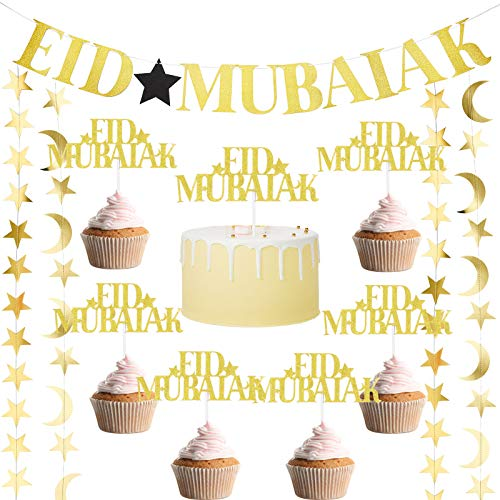 Zonon Eid Mubarak Party Decoration Set Include 1 Eid Mubarak Gold Glitter Banner, 24 Eid Mubarak Cake Topper, 4 Gold Moon Star Bunting Garlands Ramadan Islamic Photo Props Muslim Islam Decoration