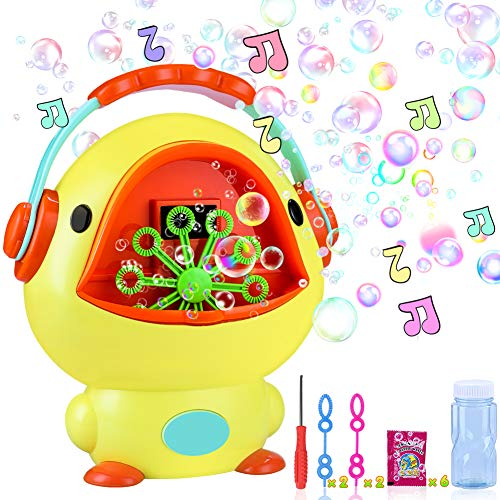 """iYoYo Bubble Machine Duck Bubble Blower with Music Sounds, 10.6"""" x 8.6"""" Bigger Size Automatic Bubble Maker Bubble Toys for Kids, Toddlers, Boys, Girls"""