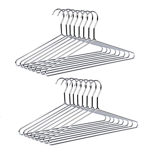 Amber Home 20 Pack Metal Shirt SuitClothes Hangers for Coat Pants with Polished Chrome Heavy Duty Silver Metal Hanger