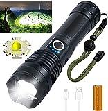 Linternas LED Recargables, Linterna Impermeable con Zoom Súper Brillante de 3000 Lúmenes con 26650 Baterías Incluidas y 5 Modos, Linterna de Mano para Camping, Senderismo, Emergencias