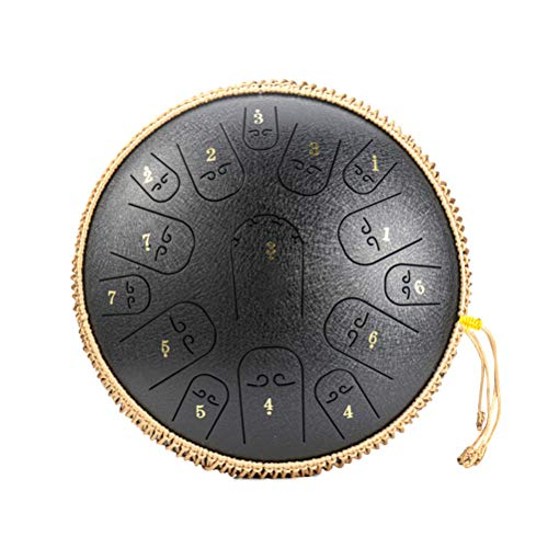 Vintagen Tambor de lengua de acero de 14 pulgadas, 15 notas, instrumento de percusión, tambor de mano para meditación, yoga y Zen