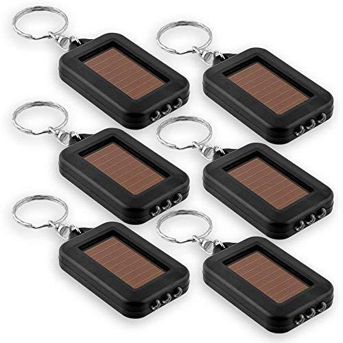 LED-Schlüsselanhänger-Taschenlampe, Mini-Schlüsselanhänger, solarbetrieben, Schwarz, 6 Stück