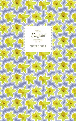 Daffodil Notebook - Ruled Pages - 5x8 - Premium: (Lilac Edition) Fun flower notebook 96 ruled/lined pages (5x8 inches / 12.7x20.3cm / Junior Legal Pad / Nearly A5)