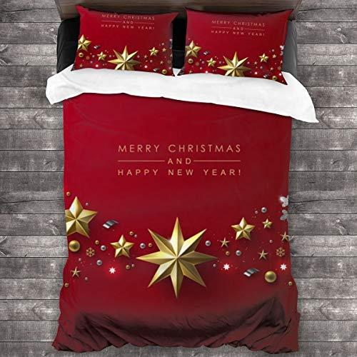 JOJOJOshop 3-teiliges Tagesdecken-Set mit goldfarbenen Sternen & silberfarbenen Schneeflocken, Tagesdecke, Tagesdecke Set mit verdeckten Eckbändern, Thermo-Bettlaken-Set 226 x 178 cm