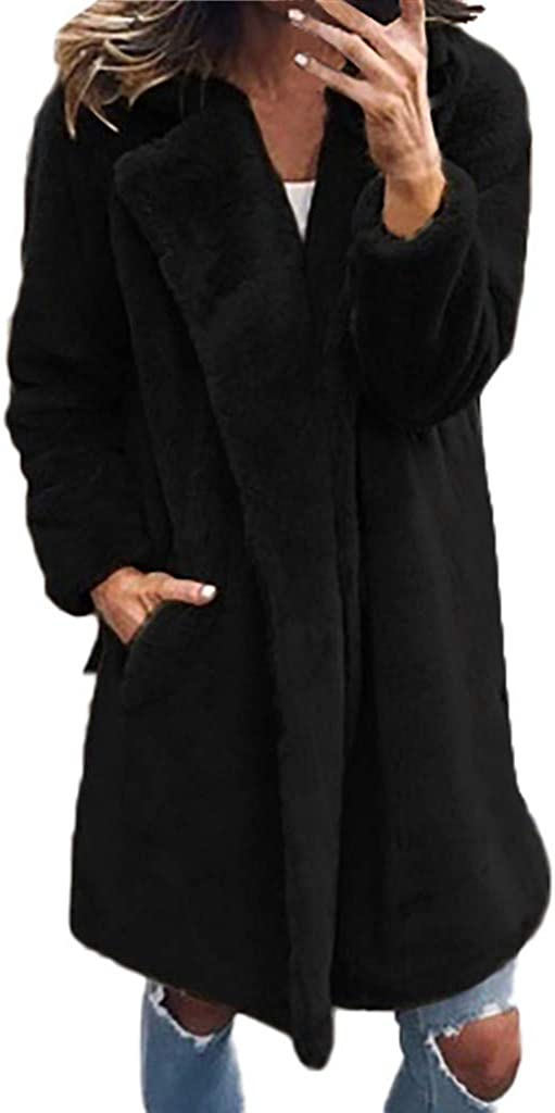 Long Faux Fur Jacket Women - NRUTUP Faux Mink Coat Lapel Turn Down Collar, Faux Fur Coat Elegant Fur Winter Coat