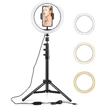 ESR Led リングライト 自撮リングライト 三脚スタント & フォーンホルダー付き 調光可能美容リングライト 10インチ Vlog、自撮り、メイク、ライブストリーミング、動画・写真撮影に使える iPhone と Androidの両方に対応