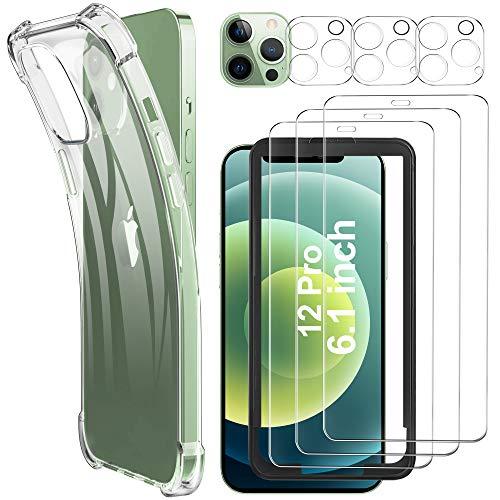Luibor [7 in 1] Schutzfolie kompatibel mit iPhone 12 Pro, Hülle & Kamera Panzerglasfolie,Soft TPU Bumper Hülle,Unterstützt Blitzaufnahmen,9H Festigkeit, HD Klar Bildschirm,6.1 Zoll