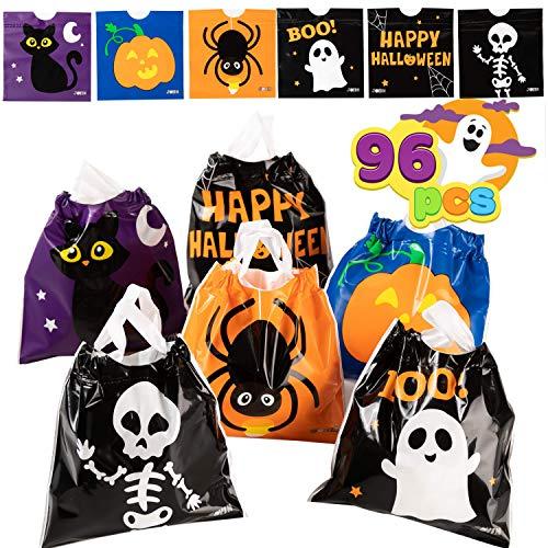 JOYIN 96 Pcs Bolsas para Dulces con Cordón de Halloween, Bolsas Pequeñas de Truco o Trato, Bolsas de Plástico para Regalos