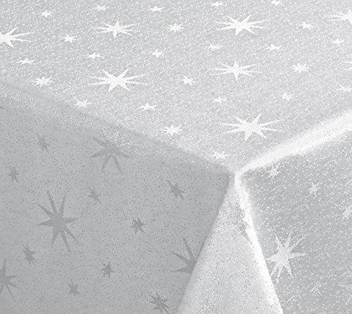 Lurex Sterne Tischdecke, Gold oder Silber glänzend, Weihnachtstischdecke Größe wählbar (Eckig 130x220 cm Weiss-Silber)