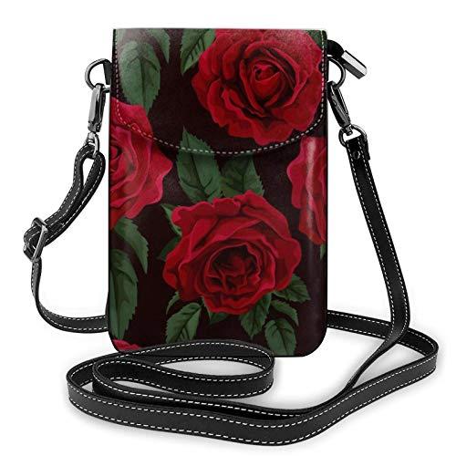 AOOEDM Small Cell Phone Purse, bolso cruzado para teléfono celular, rosa roja, pequeños bolsos cruzados, bolso de hombro de PU para mujer
