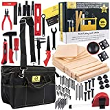 MALUVRIAN Kids Tool Set Building Toys Creative Educational Learning Toys STEAM STEM Toys for Boys and Girls Construction Toy Plastic Tools Kit Foam Wood Pretend Play Tools for Kids Real Tool Bag