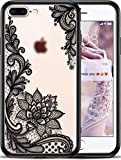 Apple (iPhone 8 Plus iPhone 7 Plus) Frosted Clear Slim Fit Phone Case for Girls Women with Cute Black Flowers Design - Ultra Thin Hard Plastic Case Cover - Protective Hybrid Rubber Bumper Cool Floral