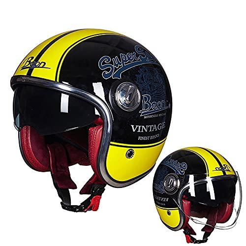 Casco Moto Abierto 3/4 Half Helmet Black Thunder Retro Casco Casco Retro Utilizado para Motocicletas Scooter Masculinas Y Femeninas Adultas Certificación Dot ECE (55-62cm)