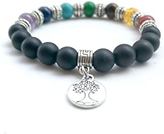 7 Chakras Healing Bracelet 8mm Matte Agate Bracelet Stress Relief Bracelets with Life Tree Charm for Women Men