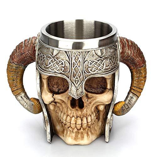 Cvxgdsfg Taza del cráneo del Acero Inoxidable Viking Ram Horned Pit Señor Guerrero Cerveza Stein Tankard Taza de café Taza de té Bar de Halloween Drinkware Regalo