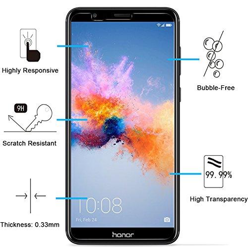 NEW'C PanzerglasFolie Schutzfolie für Huawei Honor 7X, [3 Stück] Frei von Kratzern Fingabdrücken und Öl, 9H Härte, HD Displayschutzfolie, 0.33mm Ultra-klar, DisplayschutzfolieHuawei Honor 7X - 2