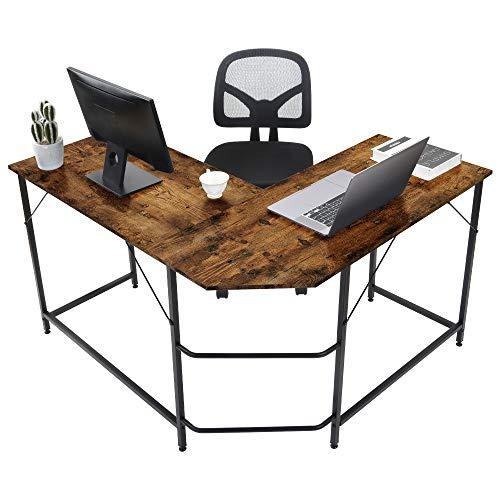 L-förmiger Schreibtisch, Metraler Rahmen, Büro-Schreibtisch, Computer-Eckschreibtisch, Laptop-Arbeitsstation, großer PC-Gaming-Schreibtisch, Home-Office-Tisch, Größe 128 x 120 x 76,5 cm (Rustic Brown)