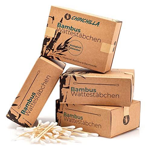 Chinchilla® 4er-Pack Bambus Wattestäbchen Spender (800 Stück) | 100% Biologisch Abbaubar, Kompostierbar, Vegan & Nachhaltig