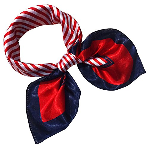 Womens Neckerchiefs Square Head Scarf Wraps Scarves Ladies Printed Kerchief Neck Scarf (D)