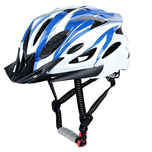Casco da Bicicletta, LUCKATCH Caschi Bici, Casco Ciclismo con Visiera Staccabile e Fodera Per Uomini e Donne Adulti (56-60 CM) (Blu e Bianco)