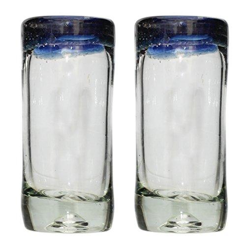 Vaso de Chupito/Tequila Artesanal – Vidrio Reciclado – Borde azul – Juego de 2