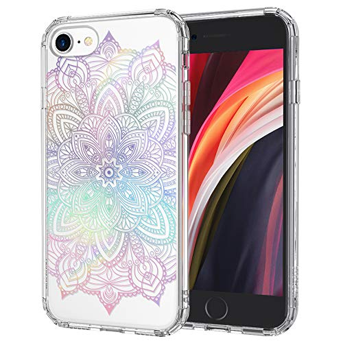 MOSNOVO iPhone SE 2020 Case, iPhone 8 Case, iPhone 7 Clear Case, Gradient Rainbow Henna Mandala Clear Design Transparent Back Case with TPU Bumper Case Cover for iPhone 7 / iPhone 8 / iPhone SE 2020