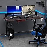 sogesfurniture Mesa de Juegos para PC Mesa Gaming Escritorio Ergonómica para Computadora con Portavasos y Gancho para Auriculares, Alfombrilla de ratón para Gaming, Negro BHEU-YT-YF-140D