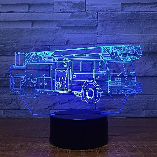 3D Fire Engine Car Truck Tractor Night Light Mesa Escritorio Lámparas de ilusión óptica 16 luces cambiantes de color LED lámpara de mesa Navidad hogar cumpleaños