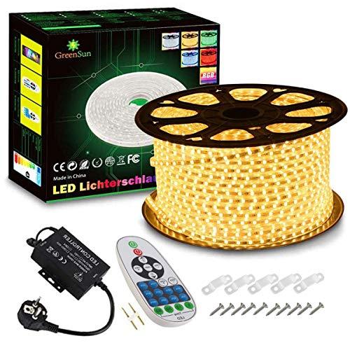 GreenSun LED Lighting Flexible Ruban à LED, 20m Blanc Chaud LED Strip Light 5050 SMD, étanche IP65 LED Bande lumière Pour Les Jardins, Maisons, Cuisine, Fête de Noël