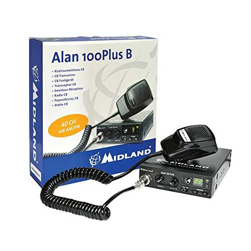 Midland Alan 100 Plus B CB Radio Ricetrasmittente Veicolare 40 Canali AM FM per Camion e Camper, Ricetrasmettitore con Microfono 4 Pin, Display Canali, Squelch e Pulsanti Up-Down
