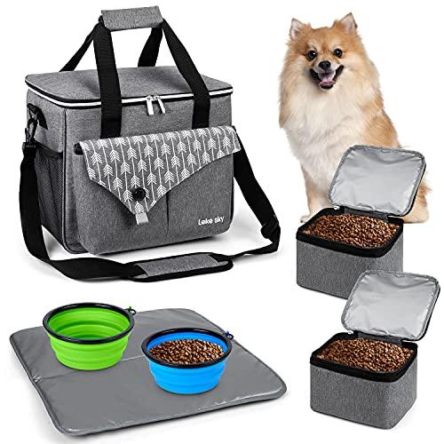 Lekesky Borsa da viaggio per cani e gatti, con scomparti e ciotola per il trasporto di cibo per animali domestici, dolcetti, giocattoli e altre cose importanti, ideale per viaggi di tutti i giorni