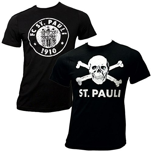 FC St. Pauli 2-teiliges T-Shirt Set Totenkopf Vereinslogo (XXL)