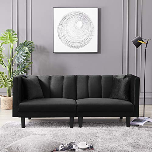 SLEERWAY Convertible Velvet Futon Sofa Bed with 2 Pillows, 3 Angles Adjustable Recliner Couch, Modern Sleeper Sofa with 8 Legs and Armrests, Twin Size Loveseat Sofa for Living Room (Black)